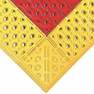 "Drainage Mat, Red with Yellow Border, 3 ft. x 30"", PVC, 1 EA"