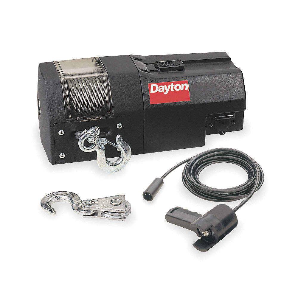 DAYTON 12VDC Pulling Electric Winch with 4.5 fpm and 4000 lb ... on