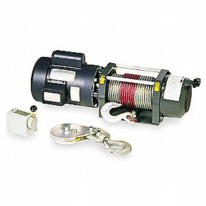 115/230VAC Pulling Electric Winch with 11.0 fpm and 2000 lb. 1st Layer Load Capacity