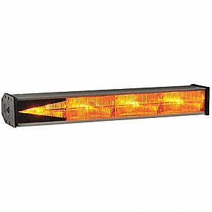 Amber, Incandescent Directional Warning Lights, 12VDC, Permanent Mounting, Length 19""