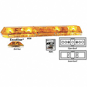 Amber Low Profile Dual Deck Lightbar, Halogen, LED Lamp Type, Permanent Mounting, Number of Heads: 8