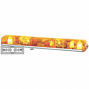 Amber Lightbar, Halogen Lamp Type, Permanent Mounting, Number of Heads: 4
