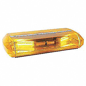 Amber Low Profile Mini Lightbar, Strobe Lamp Type, Permanent Mounting, Number of Heads: 2