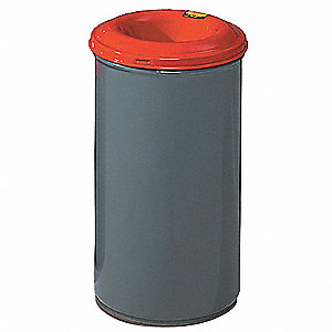 "Cease-Fire 15 gal. Round Funnel Fire-Resistant Trash Can, 27-3/4""H, Gray"