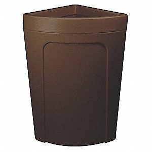 "21 gal. Corner Round Open Top Utility Trash Can, 28-7/8""H, Brown"