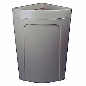 "21 gal. Corner Round Open Top Trash Can, 28-7/8""H, Gray"