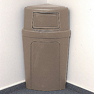 "21 gal. Corner Round Dome Top Utility Trash Can, 39-9/16""H, Beige"