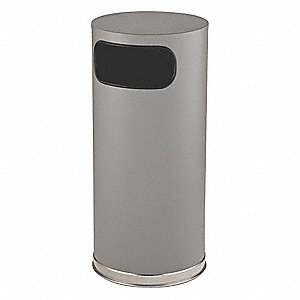 Trash Can,Round,15 gal.,Gray