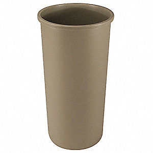 "Untouchable® 22 gal. Round Open Top Utility Trash Can, 30-1/8""H, Beige"