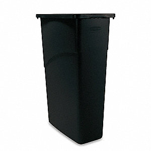 "Slim Jim® 23 gal. Rectangular Open Top Trash Can, 30""H, Black"