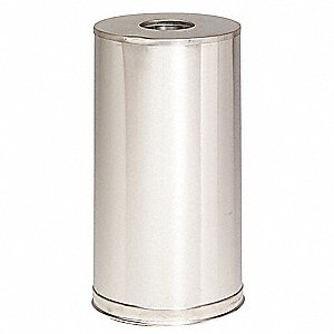 Trash Can,Round,15 gal.,Silver