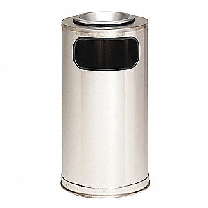 Ash/Trash Can,12 gal.,Gray