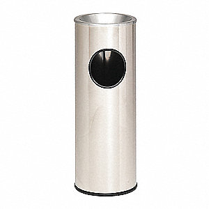"Metallic 3-1/2 gal. Round Ash Top / Side Opening Decorative Ash/Trash Can, 27""H, Gray"