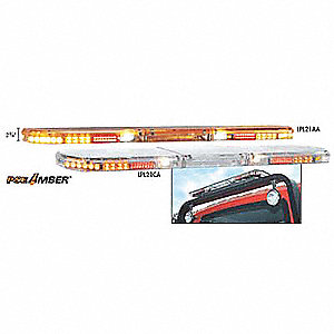 Amber Low Profile Lightbar, LED Lamp Type, Permanent Mounting, Number of Heads: 20