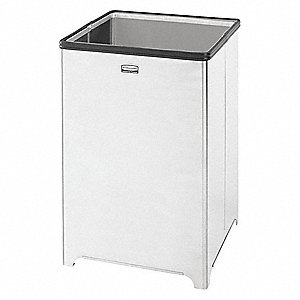 "Wastemaster 14 gal. Square Open Top Trash Can, 21""H, Silver"