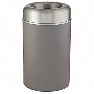 Trash Can,Round,30 gal.,Gray