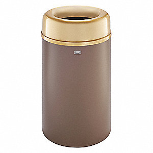 "Crowne 30 gal. Round Open Top Decorative Trash Can, 34-1/2""H, Brown"
