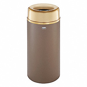 "Crowne 15 gal. Round Open Top Trash Can, 30""H, Brown"