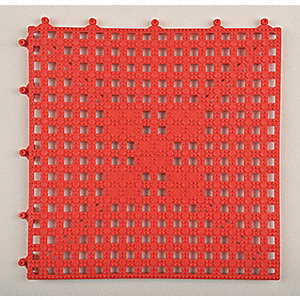 "Interlocking Drainage Mat, Vinyl, Red, 12"" x 12"", 1 EA"