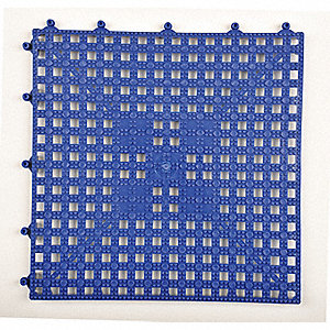 "Interlocking Drainage Mat, Vinyl, Blue, 12"" x 12"", 1 EA"
