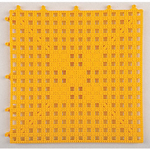 "Interlocking Drainage Mat, Vinyl, Yellow, 12"" x 12"", 1 EA"