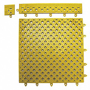 Interlocking Drainage Mat, Vinyl, Yellow, 1 EA