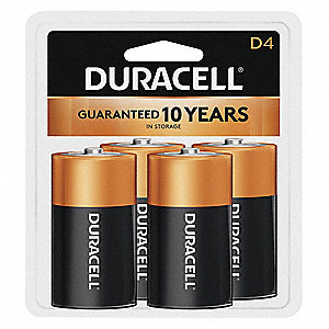 D Standard Battery, CopperTop, Alkaline, PK4