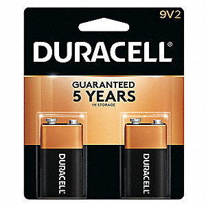 9V Standard Battery, CopperTop, Alkaline, PK2