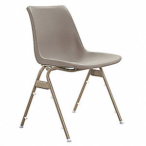 Sand Steel Stacking Chair with Sand Seat Color, 1EA