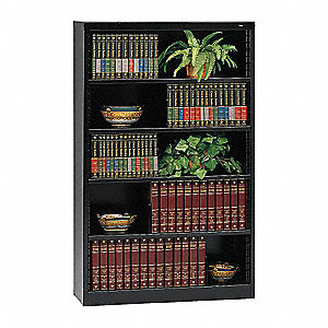 "38"" x 12"" x 60"" Stationary Bookcase with 5 Shelves, Black"