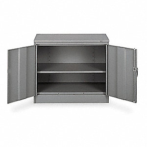 Desk Height Cabinet,Unassembled,Gray