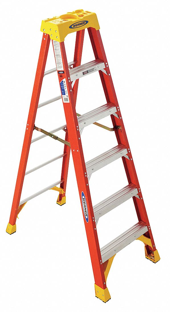 6 ft 300 lb Load Capacity Fiberglass Stepladder