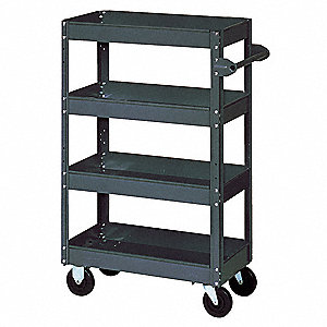 "40""L x 24""W x 60""H Gray Steel Stock Cart, 600 lb. Load Capacity, Number of Shelves: 4"
