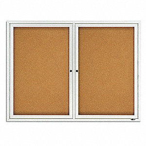 "Outdoor Enclosed Bulletin Board, Cork, Natural Board Color, 48"" Width, 36"" Height"