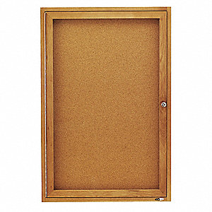 "Indoor Enclosed Bulletin Board, Cork, Natural Board Color, 24"" Width, 36"" Height"