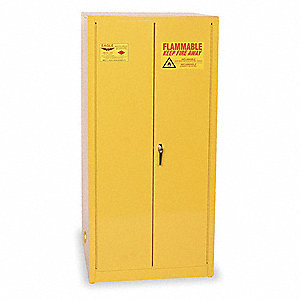 "31-1/4"" x 31-1/4"" x 65"" Galvanized Steel Flammable Liquid Safety Cabinet with Manual Doors, Yellow"