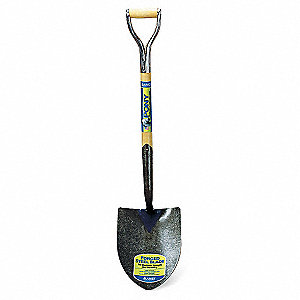 Round Point Shovel,27 In. Handle,14 ga.