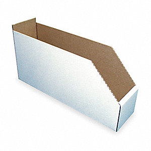 "Corrugated Shelf Bin, 200 lb. Test Rating, White, 8-1/2""H x 17""L x 8-1/4""W, 1EA"