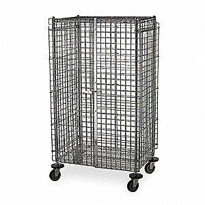 "40-3/4""L x 27-1/4""W x 67-7/8""H Silver Steel Wire Security Cart, 900 lb. Load Capacity"