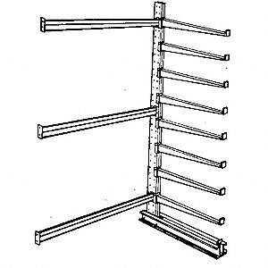 8 ft. 8 Arm 16,000 lb. Capacity Steel Cantilever Rack Add-On Unit, Gray Enamel