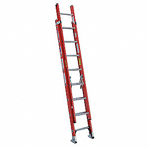 "Extension Ladder, Fiberglass, IA ANSI Type, 8 ft. 7"" Ladder Height"