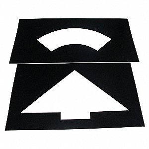 "Traffic Stencil, Curved Arrow, 27"", Plastic, 1 EA"