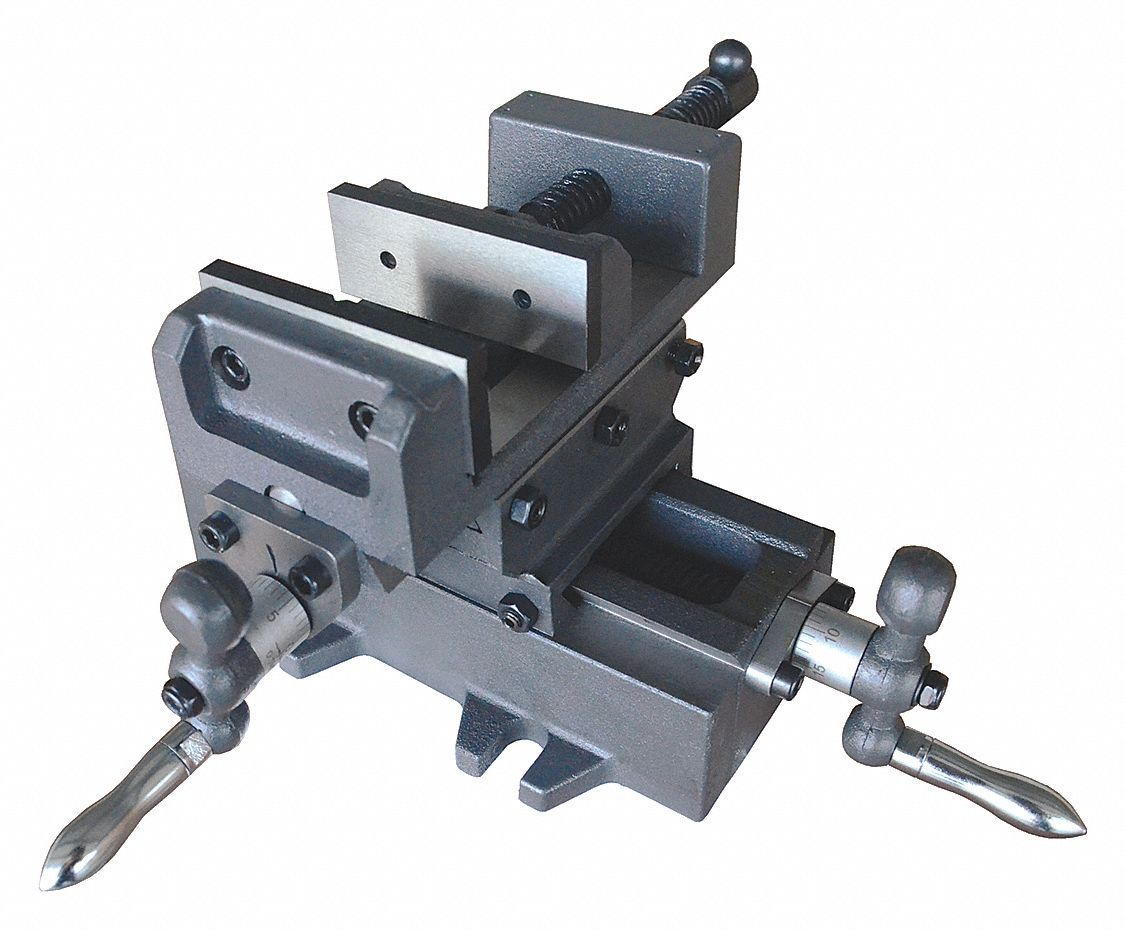 Machine Vise,  Cross Vise,  Fixed Base,  6 in Jaw Opening (In.),  6 in Jaw Width (In.)