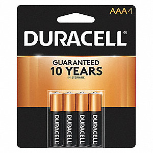 AAA Standard Battery, CopperTop, Alkaline, PK4