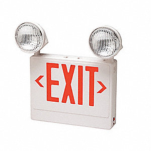 Exit Sign w/Emergency Lights,12W,Grn