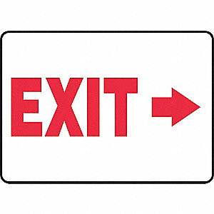 Emergency Exit Sign,7 x 10In,R/WHT,Exit