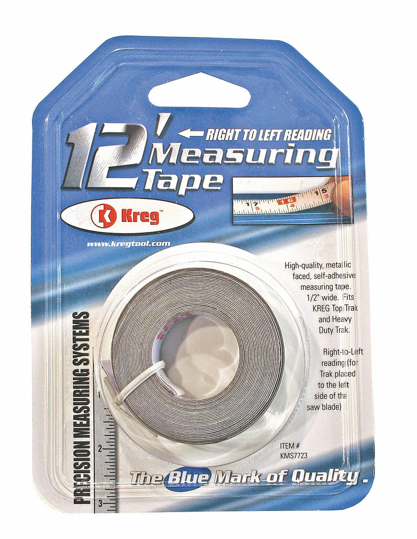 KREG 12 ft. Steel SAE Adhesive Backed Tape Measure, Clear - 3WAJ1 ...