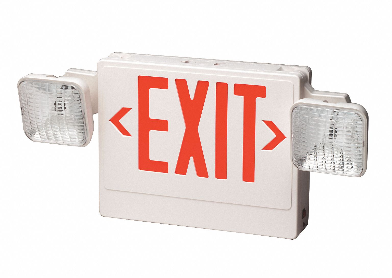 Number of Faces 2,  LED,  Exit Sign with Emergency Lights,  White,  Plastic,  Letter Color Red