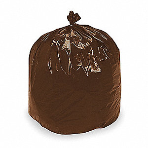 RECYCLED CAN LINER,60 GAL.,BROWN,PK