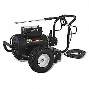 Medium Duty (2000 to 2799 psi) Electric Cart Pressure Washer, Cold Water Type, 3.2 gpm, 2500 psi